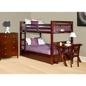 Pulse Cherry Full Bunk Bed with Trundle