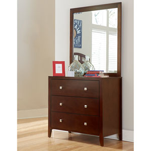 Pulse Cherry 3 Drawer Chest with Mirror