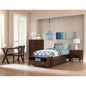 Pulse Chocolate Twin Platform Bed with Storage