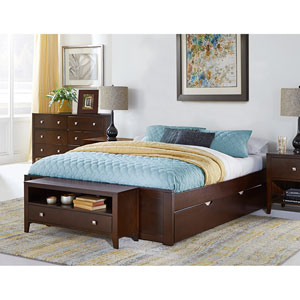 Pulse Chocolate Queen Platform Bed with Trundle
