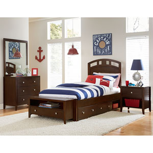 Pulse Chocolate Twin Arch Bed with Storage