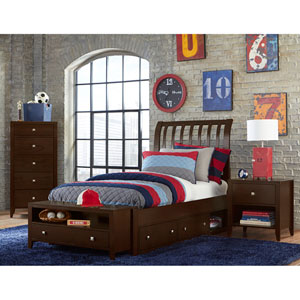 Pulse Chocolate Full Rake Sleigh Bed with Storage