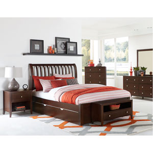 Pulse Chocolate Queen Rake Sleigh Bed with Trundle