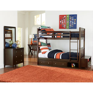 Pulse Chocolate Twin Bunk Bed with Storage