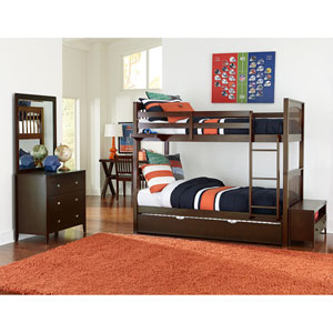 Pulse Chocolate Twin Bunk Bed with Trundle