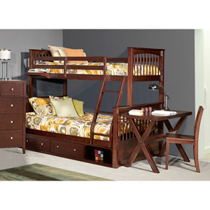 Pulse Chocolate Twin Over Full Bunk Bed with Storage