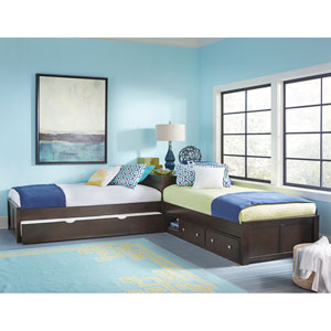 Pulse Chocolate L-Shaped Bed with Storage and Trundle