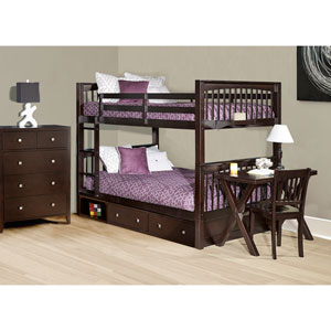 Pulse Chocolate Full Bunk Bed with Storage