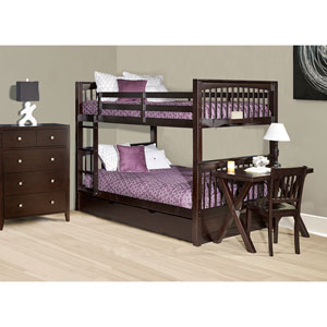 Pulse Chocolate Full Bunk Bed with Trundle