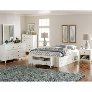 Pulse White Queen Platform Bed with Storage