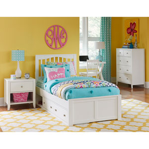 Pulse White Twin Mission Bed with Storage
