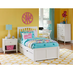 Pulse White Twin Mission Bed with Trundle