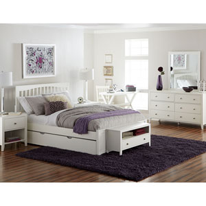 Pulse White Queen Mission Bed with Trundle