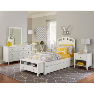 Pulse White Twin Arch Bed with Trundle