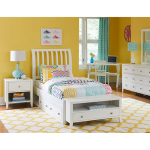 Pulse White Twin Rake Sleigh Bed with Storage