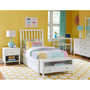 Pulse White Full Rake Sleigh Bed with Trundle
