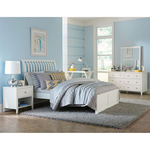 Pulse White King Rake Sleigh Bed