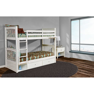 Pulse White Twin Bunk Bed with Storage