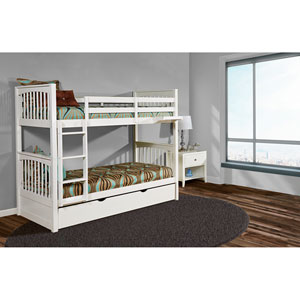 Pulse White Twin Bunk Bed with Trundle