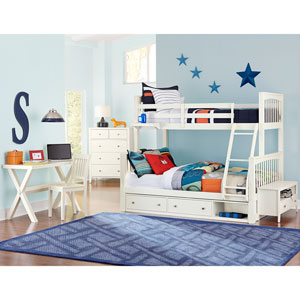 Pulse White Twin Over Full Bunk Bed with Storage