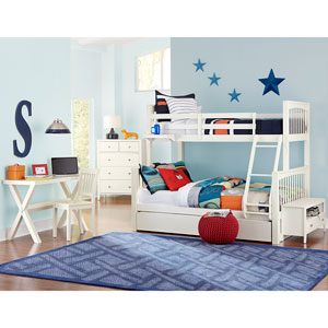 Pulse White Twin Over Full Bunk Bed with Trundle