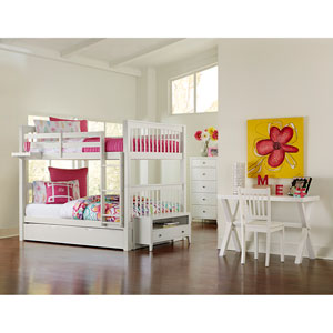 Pulse White Full Bunk Bed with Trundle