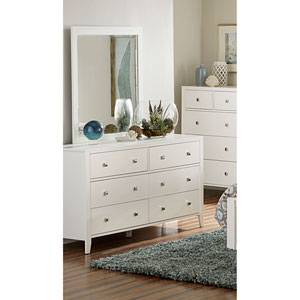 Pulse White Dresser with Mirror