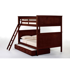 School House Cherry Casey Full Size Bunk Bed with Trundle