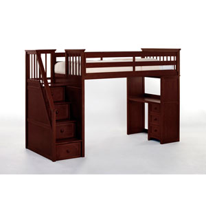 School House Cherry Stair Loft with Desk End