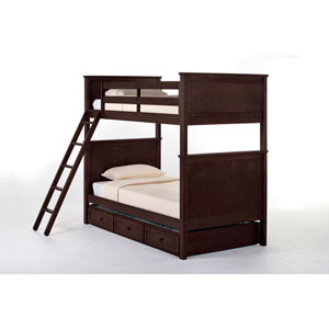 School House Chocolate Casey Twin Bunk Bed with Trundle