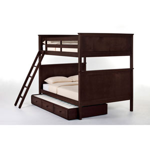 School House Chocolate Casey Full Size Bunk Bed with Trundle