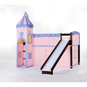 School House Chocolate Junior Loft Bed with Slide and Castle Tent