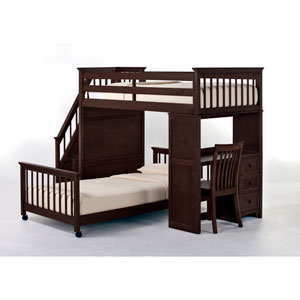 School House Chocolate Twin Stair Loft with Desk End and Twin Lower Bed