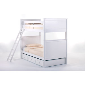 School House White Casey Twin Bunk Bed with Trundle