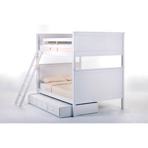 School House White Casey Full Size Bunk Bed with Trundle