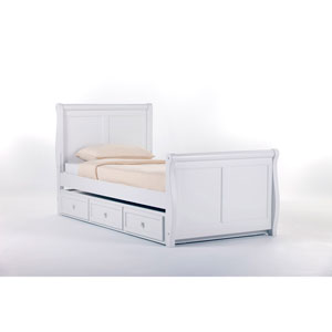 School House White Sleigh Twin Bed with Trundle