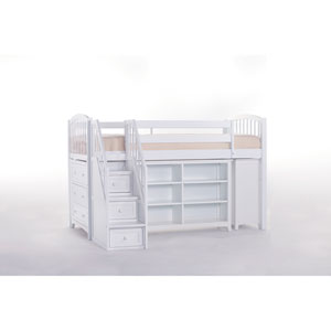 School House White Storage Junior Loft Bed with Stairs