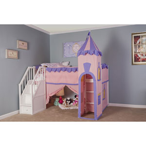 School House White Princess Loft Bed with Stairs