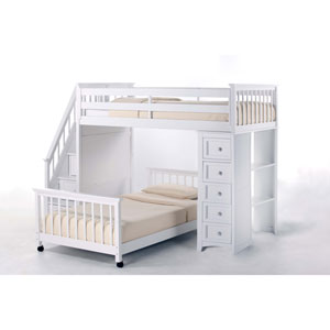 School House White Twin Stair Loft with Chest End and Twin Lower Bed