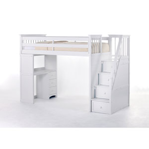 School House White Stair Loft with Desk End