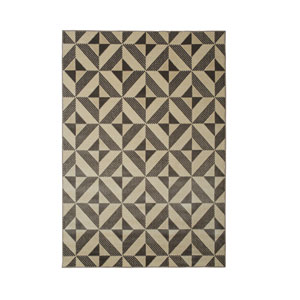 Metro Lazer Charcoal and Ivory Rectangular: 5 Ft 3 In x 7 Ft 6 In Rug