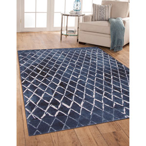 Essentials Blue and Ivory Rectangular: 5 Ft. 3 In. x 7 Ft. 6 In.  Rug