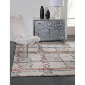 Granada Blue Red and Orange Rectangular: 5 Ft. 3 In. x 7 Ft. 6 In.  Rug