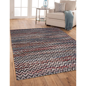 Granada Blue and Red Rectangular: 5 Ft. 3 In. x 7 Ft. 6 In.  Rug