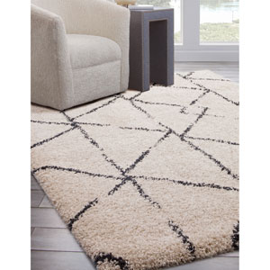 Elements Ivory and Blue Rectangular: 5 Ft. 3 In. x 7 Ft. 6 In.  Rug
