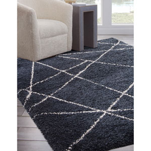 Elements Blue and Ivory Rectangular: 5 Ft. 3 In. x 7 Ft. 6 In.  Rug