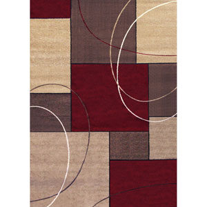 Casa Beige and Red Rectangular: 5 Ft 3 In x 7 Ft 6 In Rug