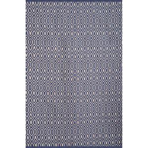 Vintage Blue and White Rectangular: 5 Ft x 8 Ft Rug