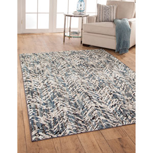 Napa Blue and Ivory Rectangular: 5 Ft. 3 In. x 7 Ft. 6 In.  Rug