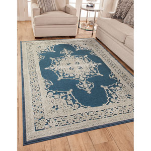 Napa Blue and Natural Rectangular: 5 Ft. 3 In. x 7 Ft. 6 In.  Rug